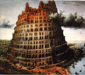 La tour de Babel en flammes