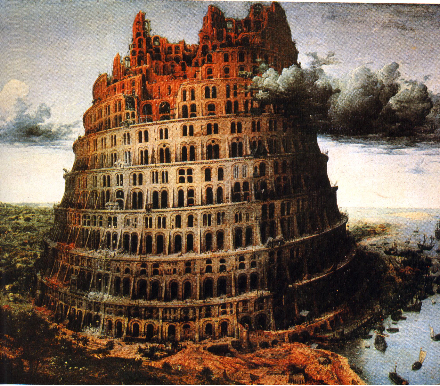 La tour de Babel en flammes