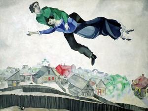 chagall au dessus ville
