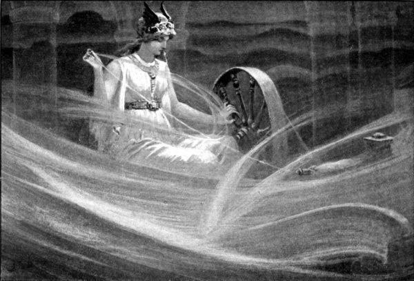La déesse Frigg filant les nuages, John Charles Dollman (1909).