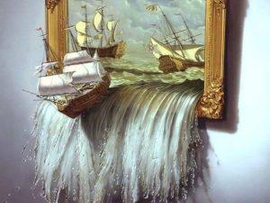 tableau illusion bateau